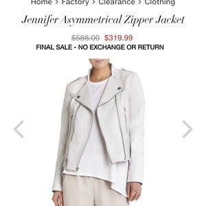 BCBG White 100% REAL Leather Jacket
